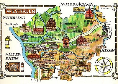 Vintage Germany Picture Map Westphalia Germany Pictorial Map Westfalen Fra 4478