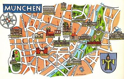 Vintage Germany Picture Map Munich Bavaria Germany Pictorial Map  Fra 4481