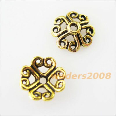 30 New Connectors Heart Flower Antiqued Gold Tone End Bead Caps 9mm