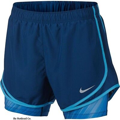 Nike Women's Dri-FIT 2-in-1 Tempo Print Shorts XS Blue Gym Casual Running New