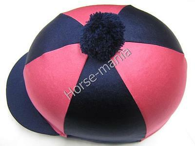 Hy Navy/pink Pom Pom Riding Hat Silk Cover For Jockey Skull Caps One Size