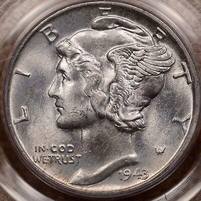 1943 Mercury dime, PCGS MS67 FB, lightest hint of gold   DavidKahnRareCoins