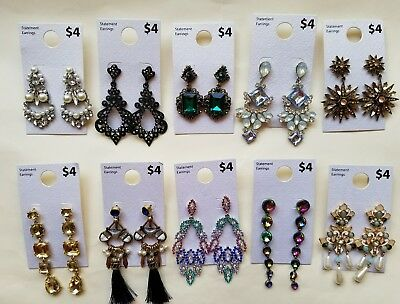 Wholesale Lot of 10 Pairs of Statement Earrings Rhinestone  New #04