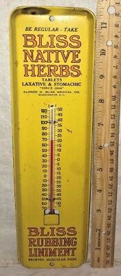 Antique Bliss Native Herb Liniment Salve Tin Litho Thermometer Sign Medicine Old