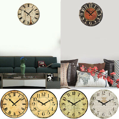 """Wall Clock 15"""" Vintage Rustic Retro Style Shabby Chic Home Kitchen Room Decor"""