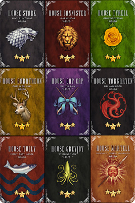 "GAME OF THRONES ALL HOUSES movie poster fridge magnet 3.5"" X 2.5"""