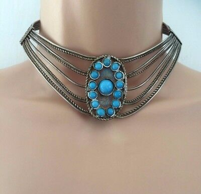 Vintage Ethnic White Metal Silver Tone & Turquoise Choker Collar Necklace