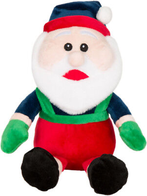 """1 Wag & Purrs Holiday 8"""" Santa Claus W/ Hat. Squeak Dog Toy. Free Ship In Usa"""