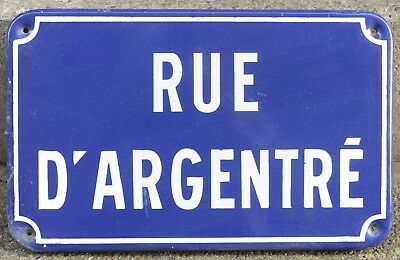 Old French enamel steel street name sign plaque Rue d'Argentre Rennes Brittany