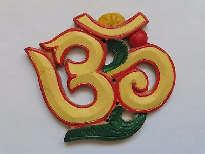 Wood Om Aum Ohm Hand Painted Yellow Wall Plaque 14.8cm
