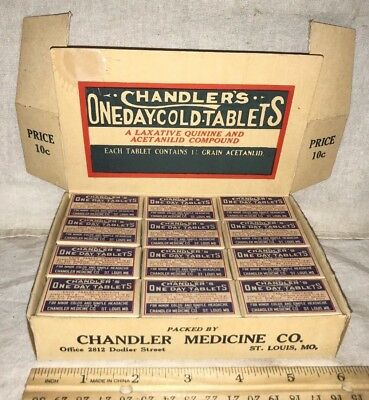 Antique Chandler Cold Tablet Medicine Pill Drug Store Display Box St Louis Mo
