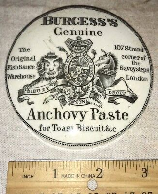 Antique Burgess's Genuine Anchovy Paste Pot Lid Vintage Soft Paste Porcelain Old
