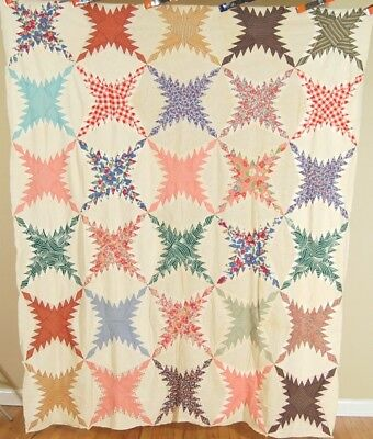 DAZZLING 30's Feathered Star Pine Burr Antique Quilt Top ~NICE VINTAGE FABRICS!