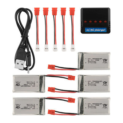 Charger + 6x/5x/4x/2x 3.7V 500mAh Battery + Cable for Syma X5HW X5HC RC Drone