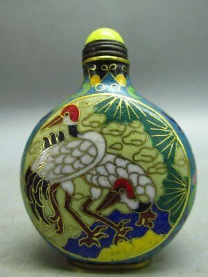 Chinese Cloisonne Carved Crane Flower Pattern Snuff Bottle