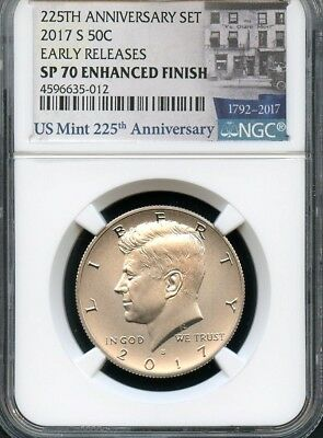 2017 S Enhanced Kennedy Half Dollar 225th Ann. Set E.R. NGC SP70 E.F. (BLUE)