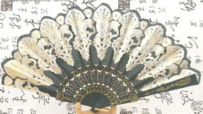 Spanish Lace Fabric Folding Hand Held Dance Fan Flowers Party Wedding Prom