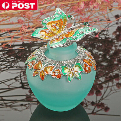 Handmade Vintage Empty Blue Crystal Butterfly Perfume Bottle Lady Gifts 40ml