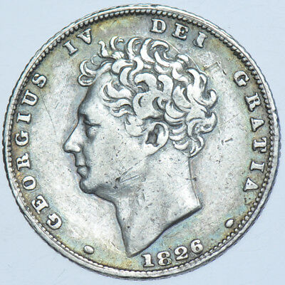 1826 Sixpence, Bare Head, British Silver Coin From George Iv Vf