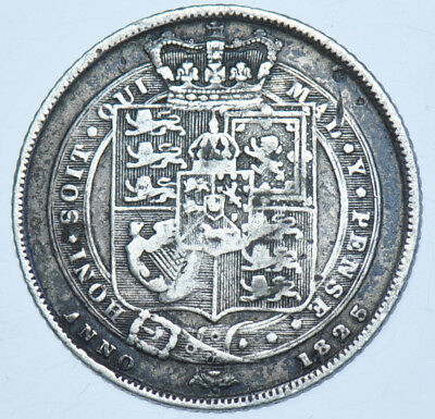 1825 Sixpence British Silver Coin From George Iiii Vf