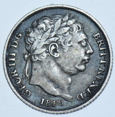 1819/8 Sixpence, 9 Over 8, British Silver Coin From George Iii Vf