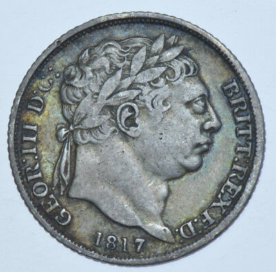 1817 Sixpence British Silver Coin From George Iii Vf