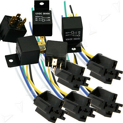 5X 12V Pre Wired 5 Pin Relay Base Socket Holder 40A for Car Truck Van Motor Boat