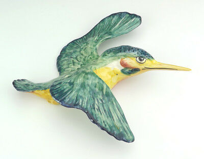 Vintage Beswick Pottery - Hand Painted Kingfisher Bird Wall Plaque - Nice!