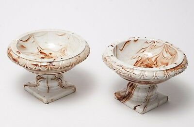 Pair of Antique Unusual Brown Swirl Glaze Pottery Comports - Early 19th Century