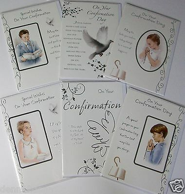LESS 40% !! CONFIRMATION CARDS, 6 DESIGNS X 6, JUST 16p, WRAPPED, FOILED (B153