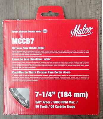 """New Malco MCCB7 7-1/4"""" C-6 Carbide tipped blade for cutting Metal roofing"""
