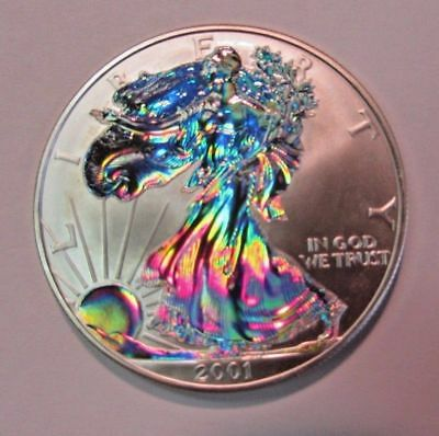 2001 American Silver Eagle Colorized Blazing Holograms! $1 2 Sides Colorized