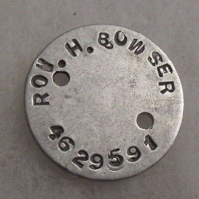Wwi Man's Dog Tag Single With Full Name & Service Number