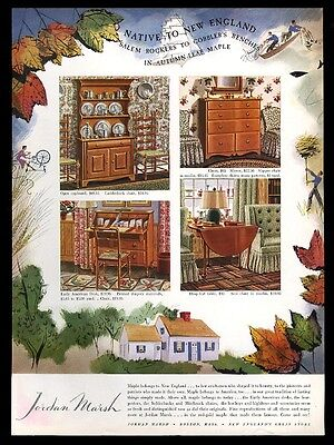 1943 Jordan Marsh maple table desk cupboard chest furniture vintage print ad