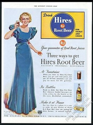 1933 Hires Root Beer Bradshaw Crandell woman color art vintage print ad