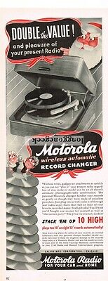 1941 MOTOROLA Wireless Automatic Record Changer Phonograph Vtg Print Ad