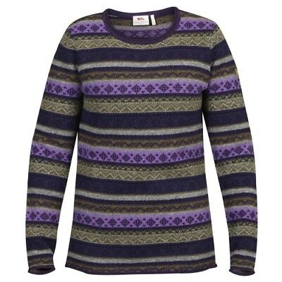 Fjällräven Övik Folk Knit Sweater W alpine purple Strickpullover Damen Lammwolle