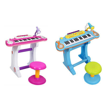 Kids Children 37-Key Electronic Piano Toy with Microphone & Stool Blue/Pink US