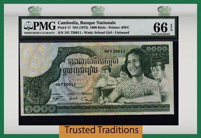 Tt Pk 17 Nd (1973) Cambodia 1000 Riels Pmg 66 Epq Gem Uncirculated None Finer!