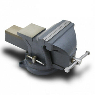 "6"" Bench Vise With Anvil Double Locking Swivel Base Clamp Mechanic Table Top"