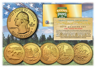 2017 24K Gold National Parks America the Beautiful Coins *Set of all 5 Quarters*