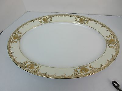 """Vintage GOLD ENCRUSTED Meito China MEI371 TURKEY SERVING PLATTER 16"""" x 11 3/4"""""""