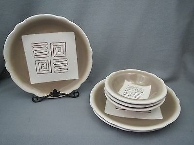 6 pc Vintage Wellsville COSMOPOLITAN ABSTRACT Restaurant Ware Dinner Plate Bowls
