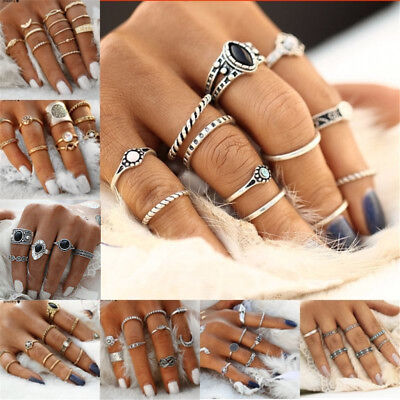 12pcs Boho Silver/Gold Stack Plain Above Knuckle Ring Midi Finger Rings Set Gift