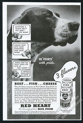1935 Pointer photo Red Heart dog food vintage print ad