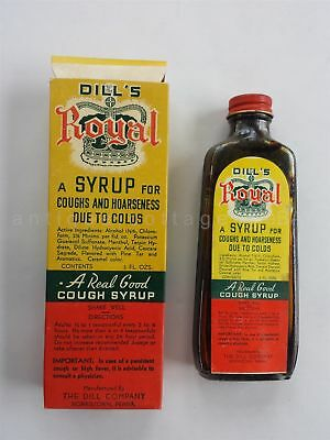 antique DILL'S ROYAL COUGH SYRUP norristown pa *UNUSED BOTTLE BOX quack medicine