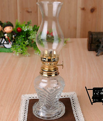 Vintage White Antique Kerosene Oil Lamp Stand Lamp Glass Craft Camping Outdoor
