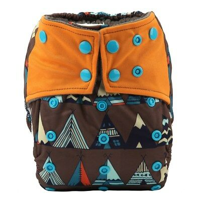All In One Cloth Diaper Nappy Charcoal Insert Night Reusable 2 Gusset Teepee