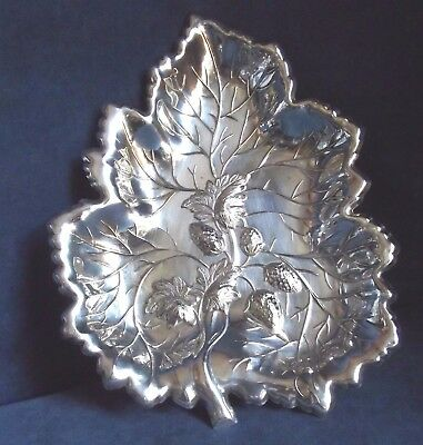 "SUPERB Large 11"" ~ LEAF Styled ~ SILVER Plated ~ Strawberry BOWL ~ c1925"
