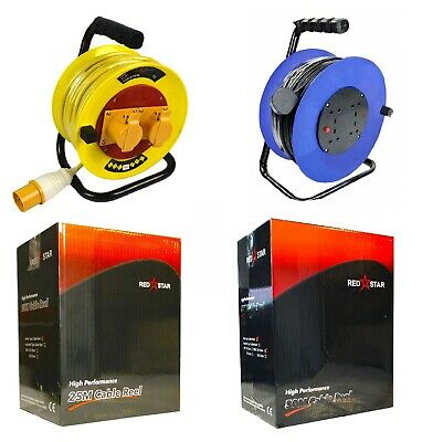 2 4 Way Extension Cable Reel Lead 110V 240V 25M 40M 50M Electrical Mains Socket